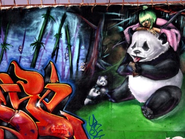 "I love the idea that someone thought ""you know what this filthy alley needs? A giant panda."" They were right."